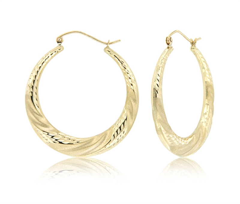 14k Hollow D/C Earrings