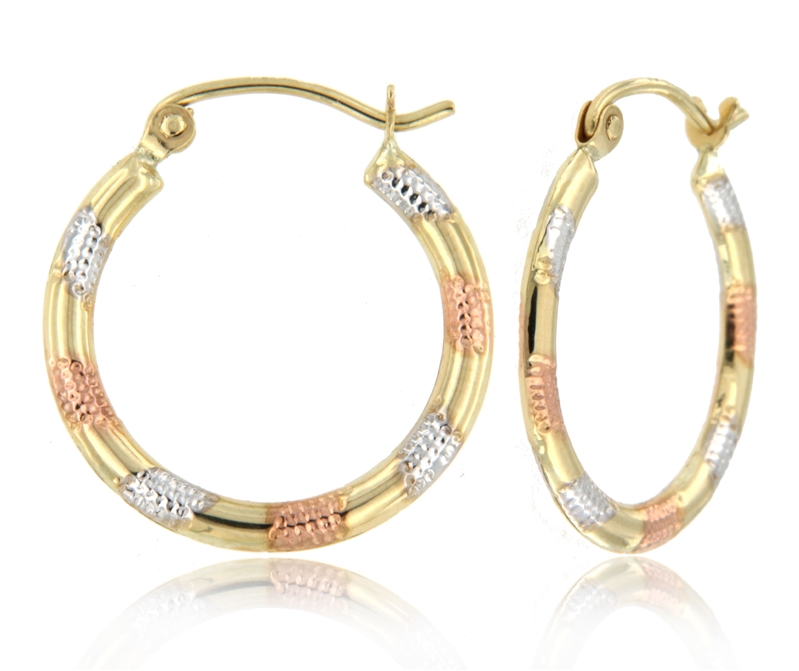 10K TriColor SuperLight Stamped Earring