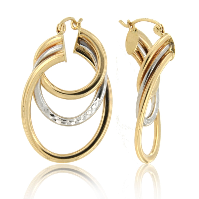 14k TwoTone 3row Oval Diamond Cut Tube Earing