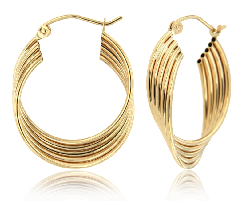 10K Yellow Tube Earring