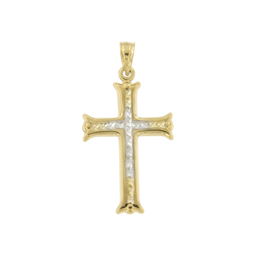 10K TwoTone Diamond Cut Cross