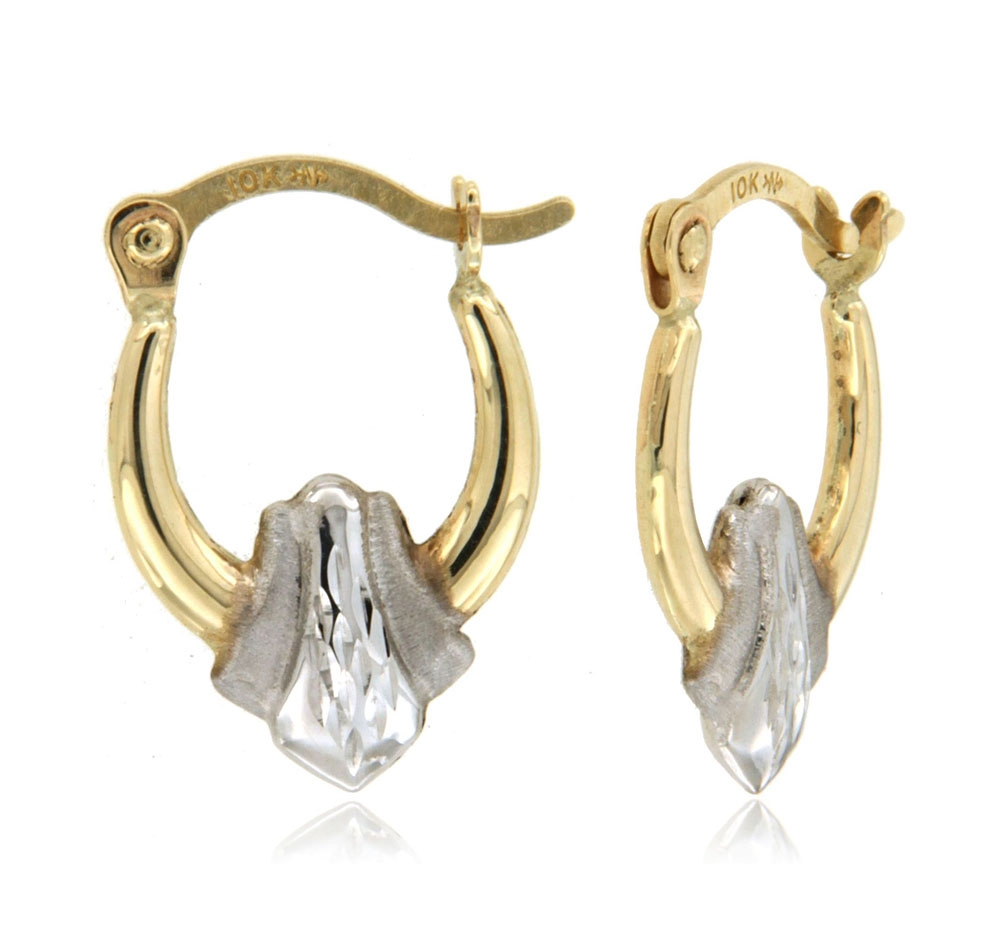 10k TwoTone Super Light Stone Finish Diamond Cut Stamped Earring