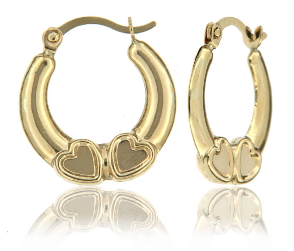 10k Yellow Super Light High Polish Stamped Earring